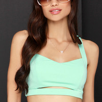 Barefoot Cay Strappy Mint Green Crop Top