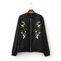 Harajuku Bird Plum Flower Embroidery Jacket  Women Contrast color Floral Bomber Jacket Coat Pilots Outerwear Black