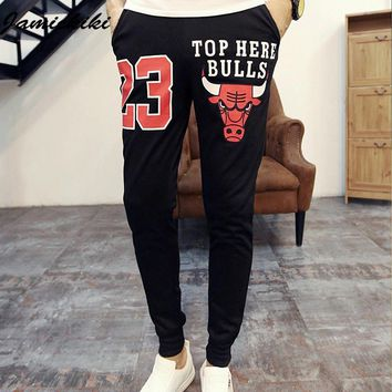 Trousers Men 2016 Mens Fashion Skinny Cotton Pantalon Homme  Clothing  Joggers Fitness Cotton Printed Cattle Harem Pants