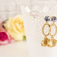 Brass Long Statement Earrings, Golden Leaf Dangle Earrings - 0049 -