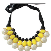 Yellow Pearl Tie Choker Necklace