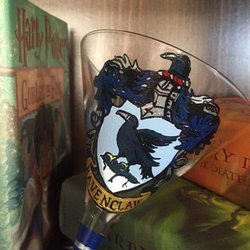 Harry Potter Inspired Ravenclaw House Martini Glass- Hand Painted Martini Glass