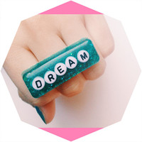 Dream Cute Glitter Resin Ring/Adjustable/Kawaii/Teal/Large Cocktail Ring