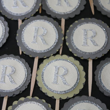 Custom Monogram Cupcake Picks Cupcake Toppers for by GlitterMe