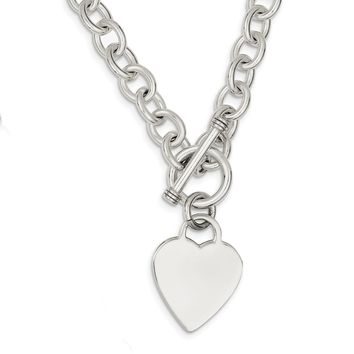 925 Sterling Silver Heart Fancy Link Toggle Necklace