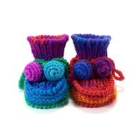 Knitted Baby Booties - Blue, Red, Violet and Green, 3 - 6 months