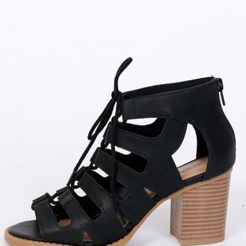 Lovers Lace Up Heel Black