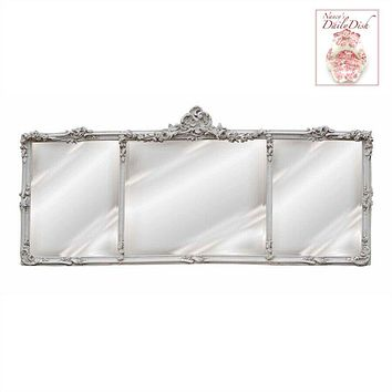 French Triple Buffet or Mantle Mirror Hand Finished Antique White or Gold