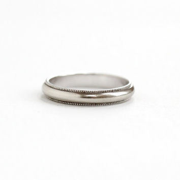 Vintage Mid-Century 10k White Gold Wedding Band Ring - Size 4 1/2 Classic , Simple , Retro Women's Fine Bridal Stacking Jewelry