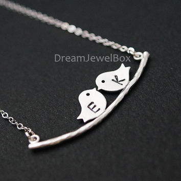 Love Birds on Branch Necklace - Personalized Necklace, Mother's Jewelry. Birds on tree Necklace dainty love friendship pendant charm
