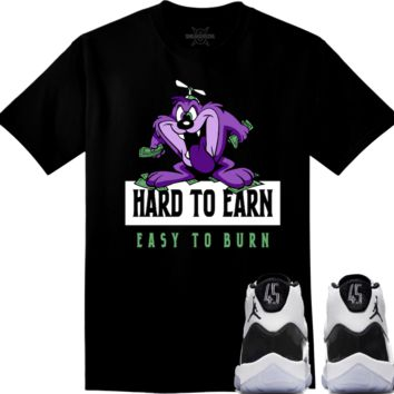 Jordan 11 Concord Sneaker Tees Shirt to Match - HARD TO EARN