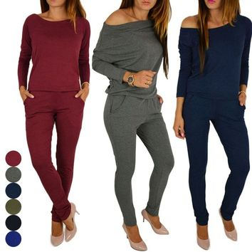 Women Fashion Sport Rompers Tracksuit Winter Casual Sexy Strapless Solid Color Jumpsuit 5 Colors