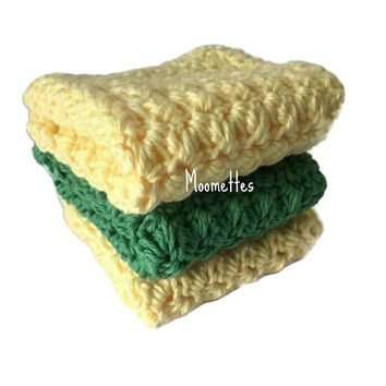Handmade Dish Cloths Green Pale Yellow Green Wash Cloths Crochet Kitchen Dishcloths Set of 3 Eco Friendly Cotton