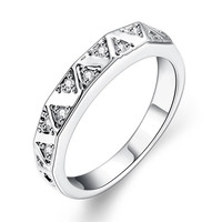 Waves White Gold Plated Ring