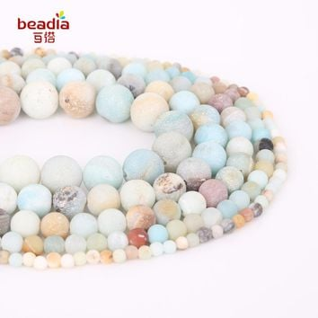 High Quality Dia 4-12mm Hole 1mm 32-95pcs/bag Natural Dull Polish Matte Amazon Stone Beads For DIY Jewelry Making
