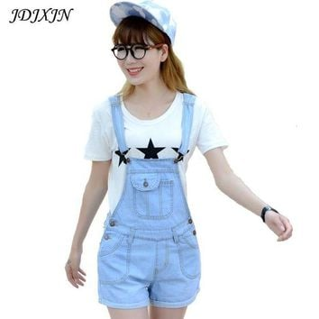 DCCKFV3 2016 Summer Style Denim Shorts Plus size Korean Womens Jumpsuit Denim Overalls Casual Skinny Girls Pants Jeans Short  JN402