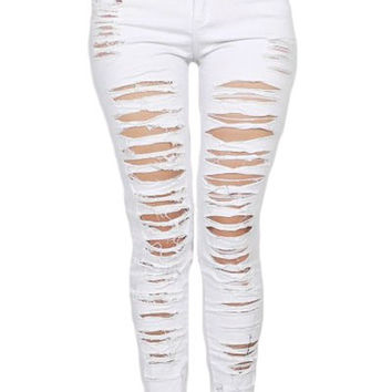 Denim Destroyed High waist Skinny Jeans pant
