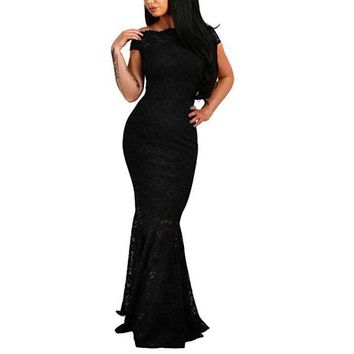 Ladies Black Lace Off The Shoulder Evening Dress Prom Gown