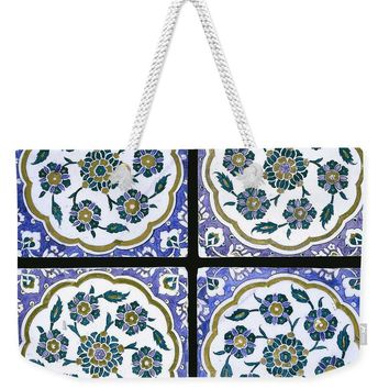 An Ottoman Iznik Style Floral Design Pottery Polychrome, By Adam Asar, No 14d - Weekender Tote Bag