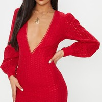 Red Crochet Lace Puff Sleeve Bodycon Dress