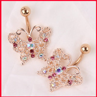Dangle Belly Button Ring 14G Rose Gold belly bar Body Jewelry Butterfly Navel Piercing For Sexy Women Luxury bijoux