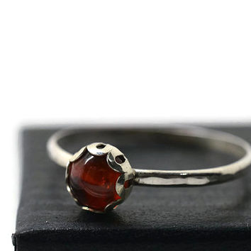 6mm Hessonite Garnet Ring, Natural Gemstone Jewelry, Burnt Orange Gemstone Ring, Sterling Silver Filigree Ring
