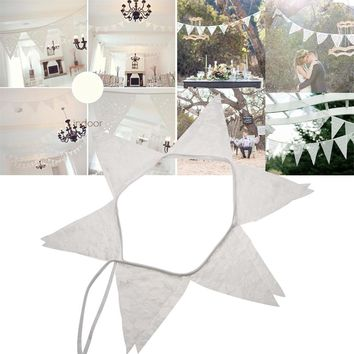 2.8m 12 flags Vintage Chic burlap linen lace bunting flags pennant for party wedding garland decoration product supply