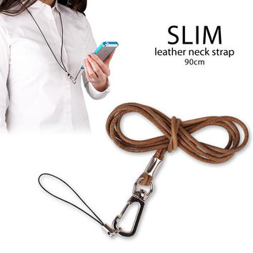 Slim Rich Leather Cell Phone Neck Strap Natural Beige