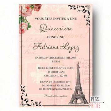 Paris Quinceanera Invitation, Printable Quinceanera Invitation, Quinceanera Invites, Quinceanera Invitations, Parisian Quinceanera Invite