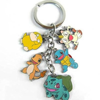 Pokemon Bulbasaur, Charmander, Squirtle Metal Charm Keychain