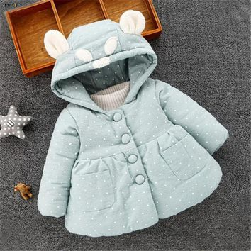 2017 Thicken Velvet Winter Baby Jackets For Girl Hooded Print Long Sleeve Infant Girls Coat Cute Cotton Kids Outwear 0-2 Years