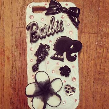 Pink & Black Barbie Iphone 5 Case by littledevildecoxo on Etsy