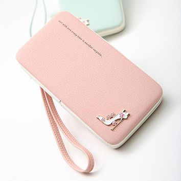 New Arrival Lovely Lady Wallets Women Long Wallets Purses Clutch Bags Phone Case For iPhone 6 Plus Lady Cute Coin Purse LXX9