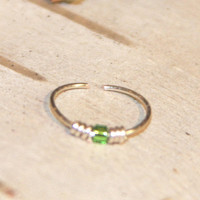 Sterling Silver Nose Ring, Green Beaded Nose Ring, 24 Gauge Hoop, 22 Gauge Hoop Earring, Cartilage Hoop, Seamless Hoop