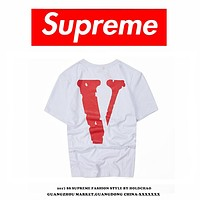 Supreme Couple Fashion Casual Pattern Print T-shirt