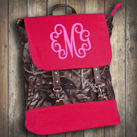 Monogrammed Mossy Oak Camo Backpack with Hot Pink Trim  Font shown MASTER CIRCLE in pink