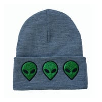 Alien Beanie Winter Warm Knitted Embroidered Wool Gray Cuffed Skully Hat