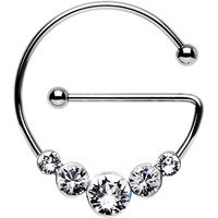 Clear Steel Universal Nipple Ring Created with Swarovski Crystals | Body Candy Body Jewelry