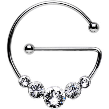 Clear Steel Universal Nipple Ring Created with Swarovski Crystals  9115792016