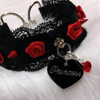 MADE TO ORDER- Black and Red Luxury Elegant Princess Rose Spike Lace Collar