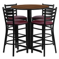 30'' Round Walnut Laminate Table Set with Ladder Back Metal Bar Stool and Burgundy Vinyl Seat, Seats 4