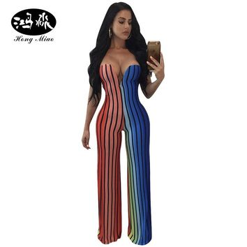 HongMiao New 2017 Summer Sexy Off Shoulder Rompers Women Jumpsuit Rainbow Striped Slash Neck Bodycon Jumpsuit Backless One Piece