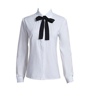 Taiduosheng Women Ivory White Bowtie Baby Collar Tops Blouses Long Sleeve OL Chiffon Button Down Shirt