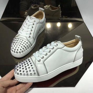 DCCK CL Christian Louboutin Women's Leather Fashion Low Top Sneakers Shoes