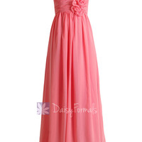 Light Coral Long Sweetheart Chiffon Evening Dress Long Coral Bridesmaid Dress(BM224)