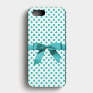 Blue Tiffany Polkadot Ribbon iPhone SE Case