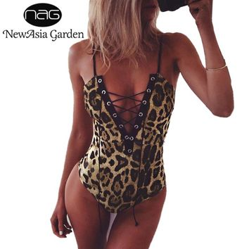 NewAsia Garden Sexy V Neck Lace Up Women Bodysuit Leopard Animal Print Bodies Feminino Casual Sleeveles Romper Jumpsuit Playsuit