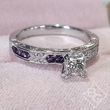 Kirk Kara Charlotte Princess Cut Purple Amethyst Diamond Engagement Ring