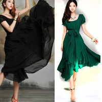 2016 New Korean Style Women Pleated Maxi Chic Prom Party Dress For Evening  Chiffon Women Clothing Vintage Long Summer Dress