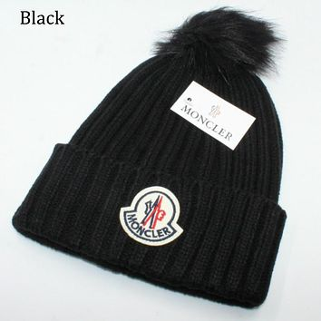Moncler autumn and winter warm plus ball knit hat wool cap F0908-1 black